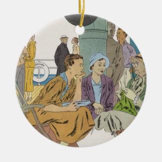 Vintage Ferien, Passagier-Kreuzfahrt-Schiff auf Keramik Ornament