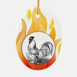 Vintage Feuerhahnillustration Keramik Ornament
