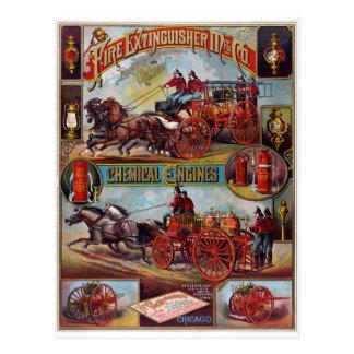 Vintage Feuerlöscher-Werbung Postkarte