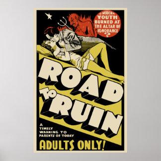 """Vintage Film-Plakat-Kunst - """"zu ruinieren Straße """""""