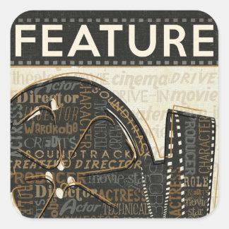 Vintage Film-Spule Quadratischer Aufkleber