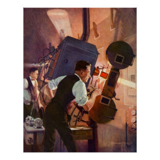 Vintage Film-Theater-Filmvorführer-Film-Kamera Poster