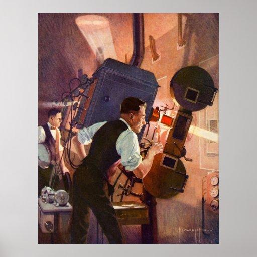 Vintage Film-Theater-Filmvorführer-Film-Kamera Plakatdrucke