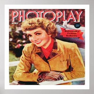 Vintage Filmstar Claudette Colbert auf Photoplay Poster