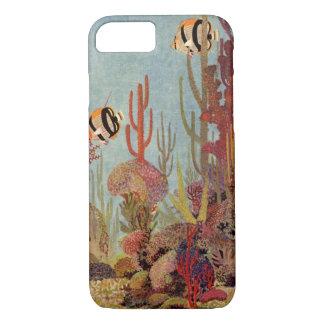 Vintage Fische im Ozean, tropischer korallenroter iPhone 8/7 Hülle