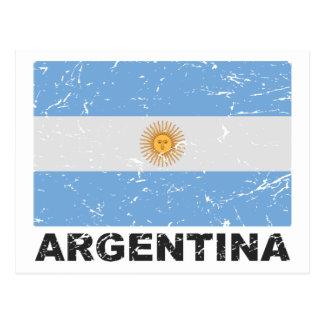 Vintage Flagge Argentiniens Postkarte