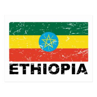 Vintage Flagge Äthiopiens Postkarte