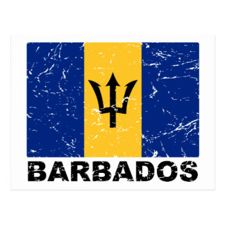 Vintage Flagge Barbados Postkarte