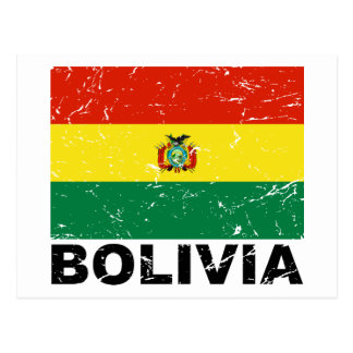 Vintage Flagge Boliviens Postkarte