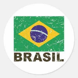 Vintage Flagge Brasiliens Runder Aufkleber