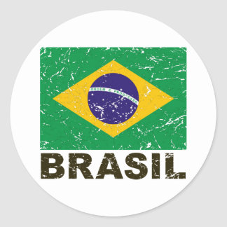 Vintage Flagge Brasiliens Sticker