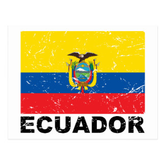 Vintage Flagge Ecuadors Postkarte