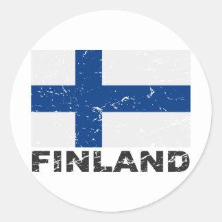 Vintage Flagge Finnlands Runder Sticker