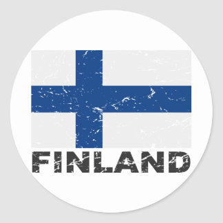 Vintage Flagge Finnlands Runder Aufkleber