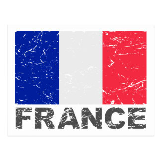 Vintage Flagge Frankreichs Postkarte