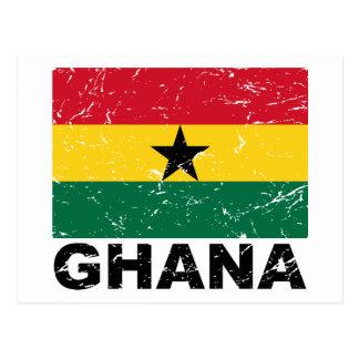 Vintage Flagge Ghanas Postkarte