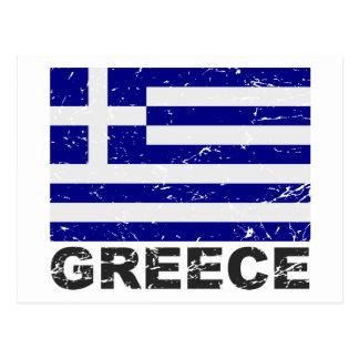Vintage Flagge Griechenlands Postkarte