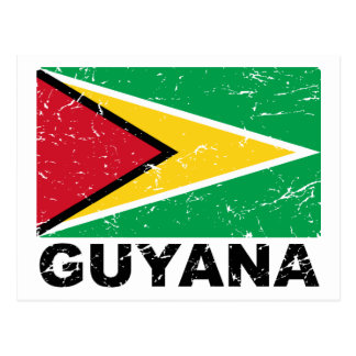 Vintage Flagge Guyanas Postkarte