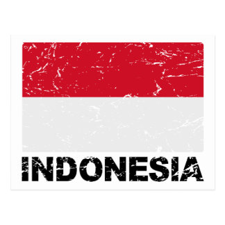 Vintage Flagge Indonesiens Postkarte