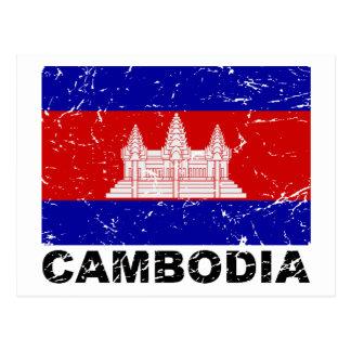 Vintage Flagge Kambodschas Postkarte