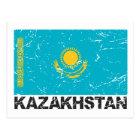 Vintage Flagge Kasachstans Postkarte