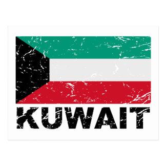 Vintage Flagge Kuwaits Postkarte