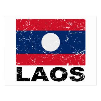Vintage Flagge Laos Postkarte