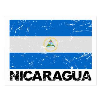 Vintage Flagge Nicaraguas Postkarte
