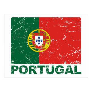 Vintage Flagge Portugals Postkarte