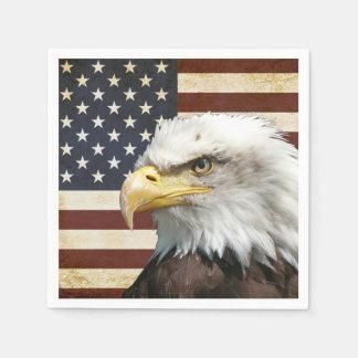 Vintage Flagge US USA mit amerikanischem Adler Papierserviette