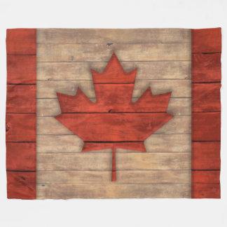 Vintage Flagge von Kanada beunruhigte hölzernen Fleecedecke
