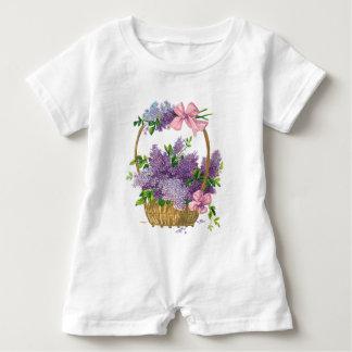 Vintage Flieder-antiker Blumen-Blumenstrauß Baby Strampler