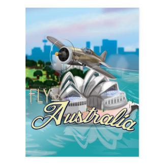 Vintage Fliege zum Australien-Reise-Plakat Postkarte