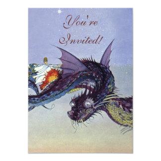 Vintage Fliegen-Drache-mythische Illustration Karte