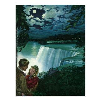 Vintage Flitterwochen-Liebe, Jungvermählten bei Postkarte