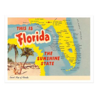 Vintage Florida-Karte Postkarte