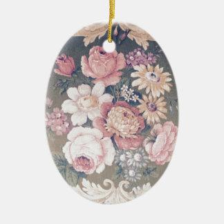 Vintage flower SIRAdesign Ovales Keramik Ornament