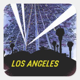 Vintage Fluglinien-Reise Los Angeles Quadratischer Aufkleber