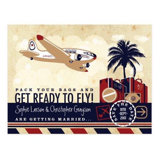Vintage Fluglinien-Reise-Save the Date Postkarte
