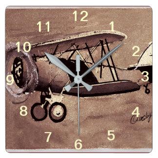Vintage Flugzeug-Wand-Uhr Quadratische Wanduhr