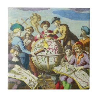 Vintage Forscher mit antiker Kugel-Karte, 1542 Keramikfliese