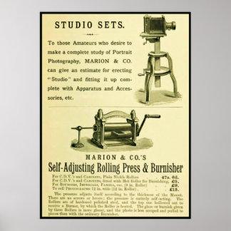 Vintage Fotografie-Anzeige Studio-Sets Plakatdrucke