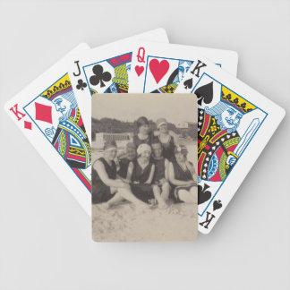 Vintage Fotografie der Strand-Gruppen-1920 Bicycle Spielkarten
