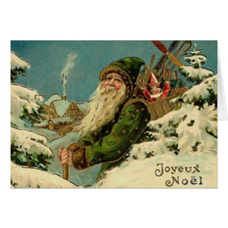 Vintage Franzose-Sankt-Weihnachtsgruß-Karte Karte