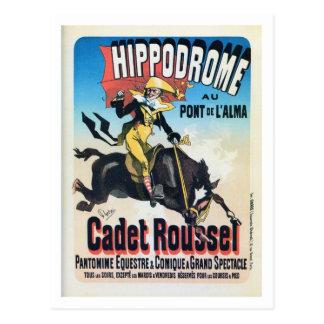 Vintage Franzosen Chéret Paris Hippodromanzeige Postkarte