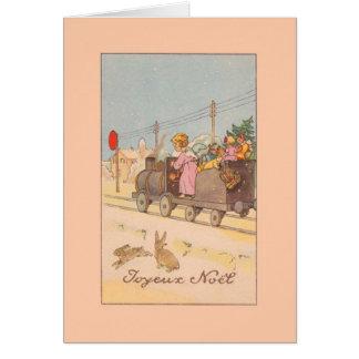 Vintage Franzosen Joyeux Noël Weihnachtskarte Karte
