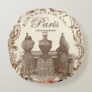 Vintage Franzosen Rundes Kissen