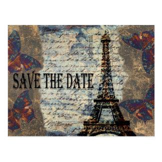 Vintage Franzosen Save the Date Postkarte