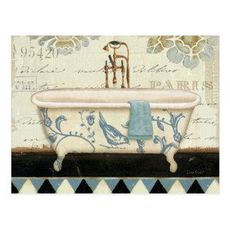 Vintage französische Badewanne Postkarten