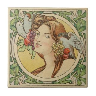 Vintage französische Frauen-Kunst Nouveau Keramik Fliese